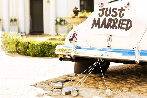 voiture mariage just maried